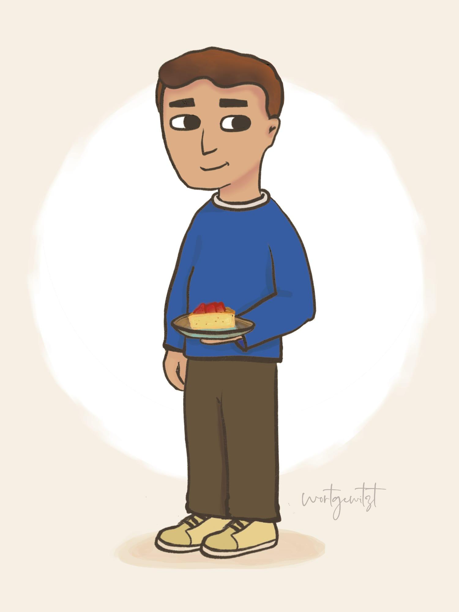 Characterdesign Papa mit Kuchenstück