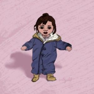 Illustration Kleines Mädchen im Schneeanzug