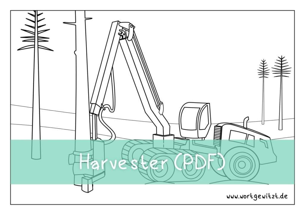 Ausmalbild Harvester von John Deere