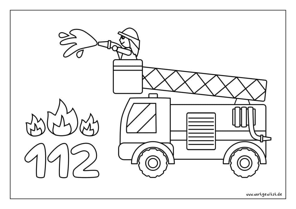 Ausmalbild und Ausmalvorlage Feuerwehrauto