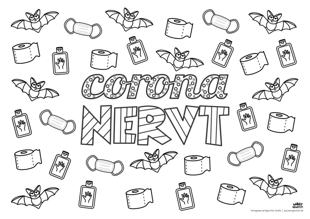 Corona nervt Ausmalbild für Erwachsene
