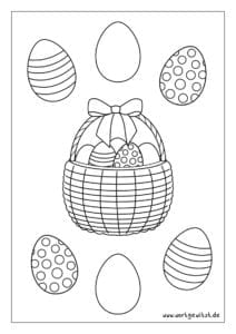 Fensterbild oder Window Color Vorlage Osterkorb mit Ostereiern