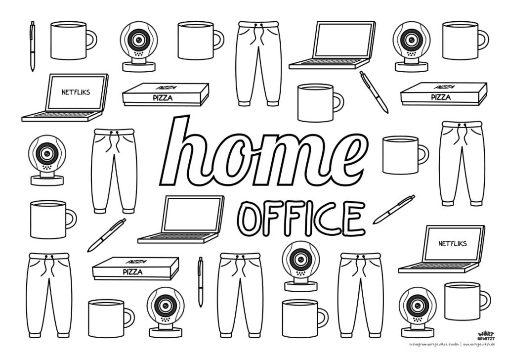 Ausmalbild für Erwachsene Home Office