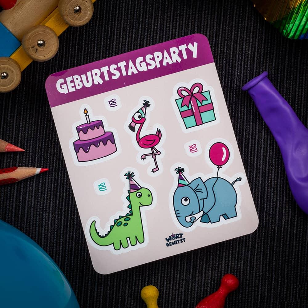 Stickerbogen Geburtstagsparty