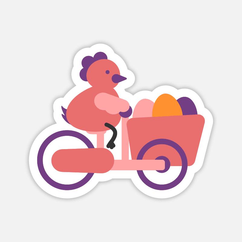 Sticker für den Laptop - Huhn auf Lastenrad