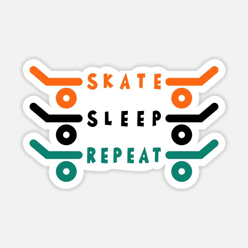 Laptop Sticker Skateboard Skate Sleep Repeat