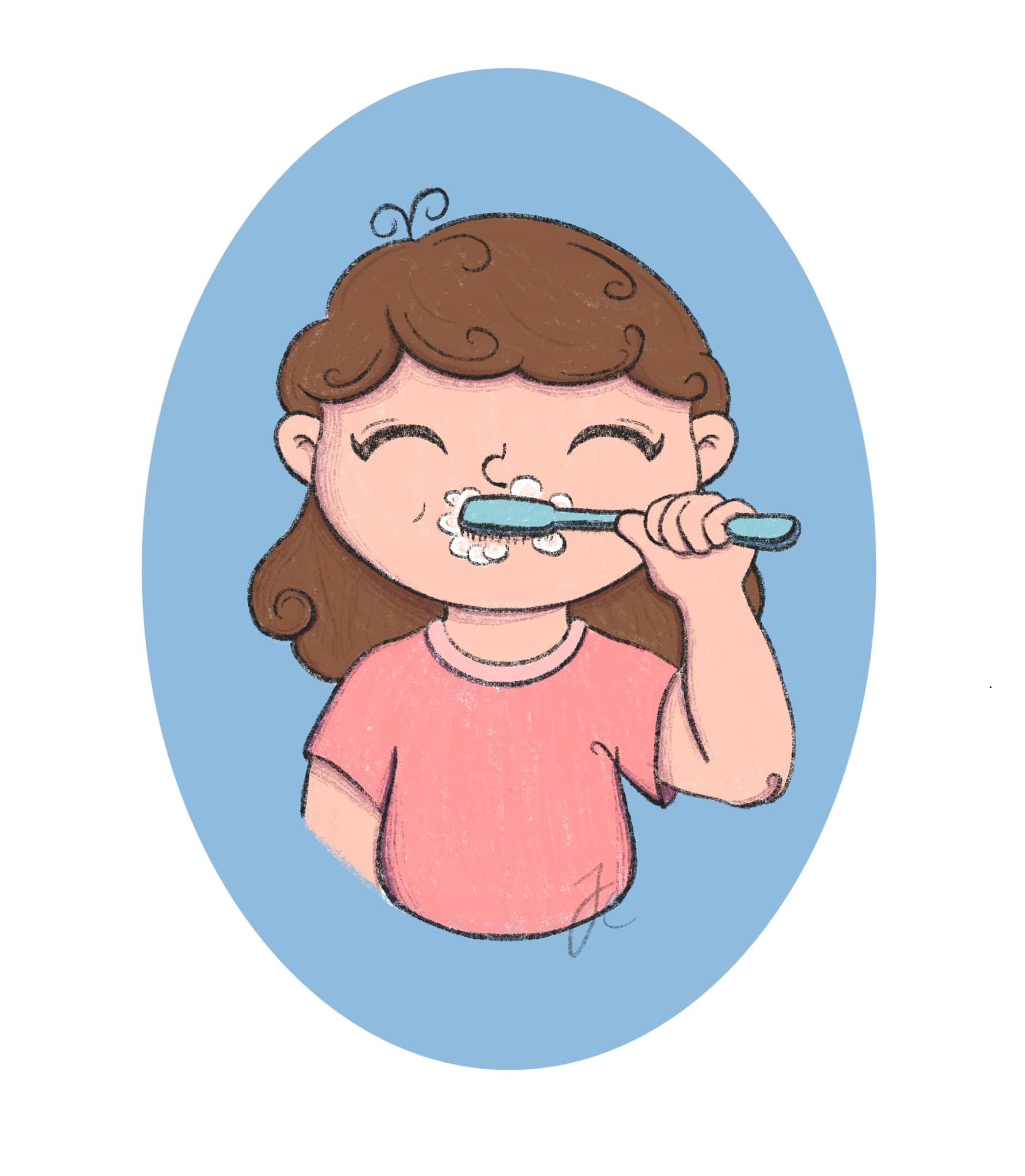 Illustration von einem Kind das Zähne putzt