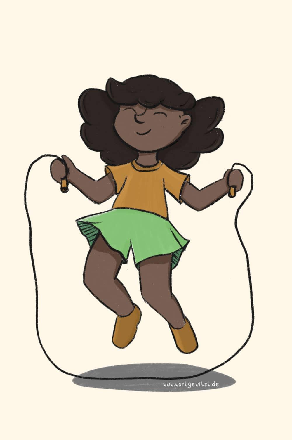 Illustration seilspringendes Mädchen