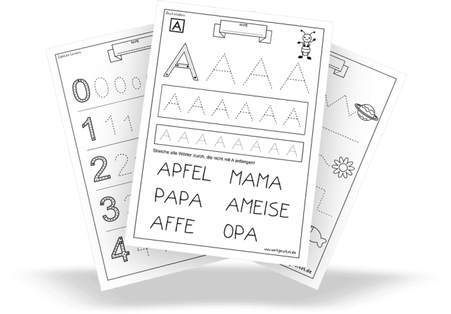 Übungs-& Arbeitsblätter für Vorschule und Kindergarten