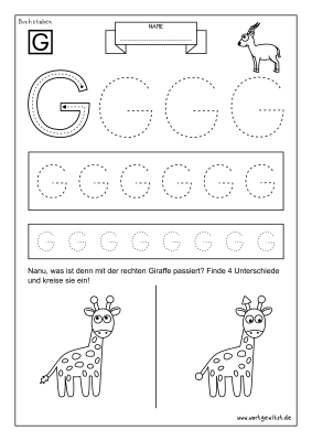 Arbeitsblatt Vorschule Buchstabe G