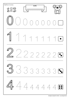 Arbeitsblatt Vorschule Zahlen lernen 0 bis 4